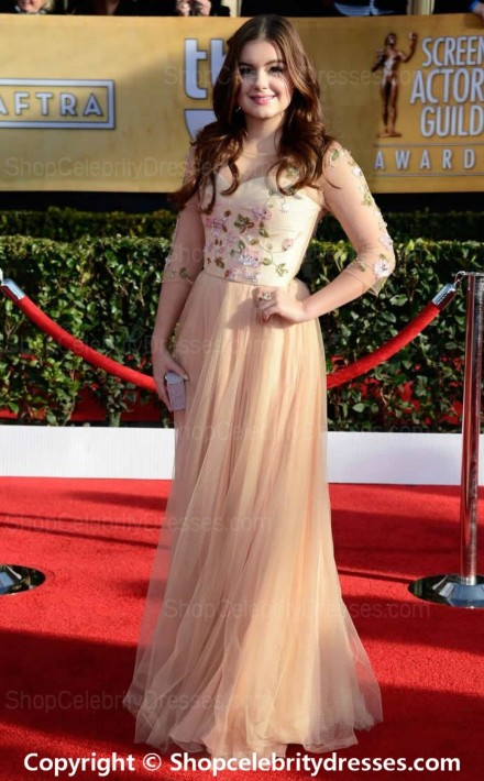 Ariel Winter Line Floor Length Pink Tulle Sag Awards Dressesscd