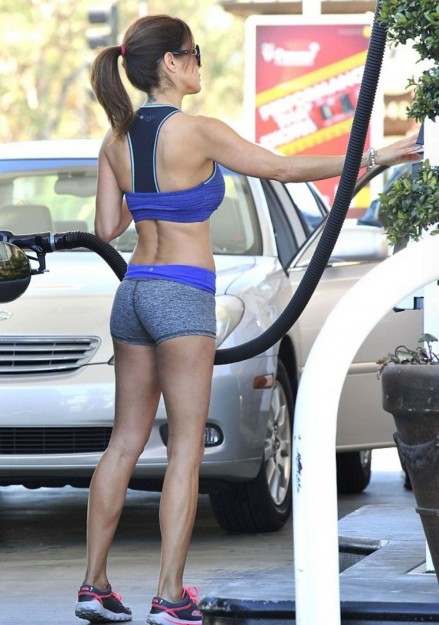 Brooke Burke In Tight Shorts And Tank Top At Gas Station In Malibu