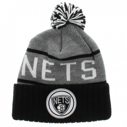 Brooklyn Nets Nba Gray Team Colors The Cuff Knit With Pom By Mitchell And Ness
