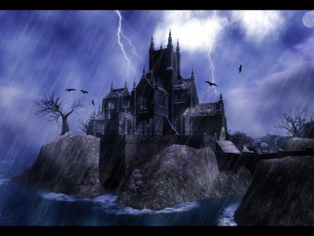 Thunderstorm Over Castle Wallpaper Normal Wallpaper