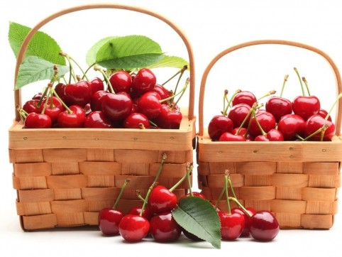 Two Baskets Of Red Cherries Wallpaper