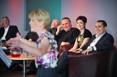 Robert Robson Braham Murray Edward Seckerson Mark Elder Connie Fisher And Kenny Wax Watch Shona Lindsay Sing At The Wonderful Town Launch At The Lowry