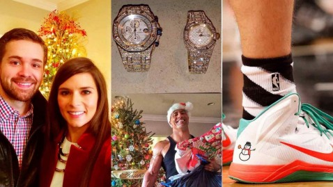 Christmas Collage Danica Patrick Ricky Stenhouse Dwayne Johnson The Rock Floyd Mayweather Snowman Shoes Selfie