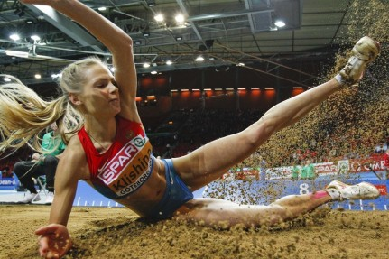 Russian Long Jumper Darya Klishina Competes In Sweden