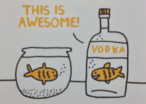 fish, cartoon, vodka, alcohol, liquor