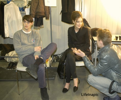 Jacob Young Erin Fee And Pete Bolton Backstage Enrico Coveri