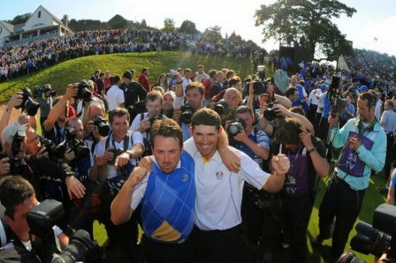 Padraig Harrington And Graeme Mcdowell Celebrate The Ryder Cup Win At Celtic Manor Hot