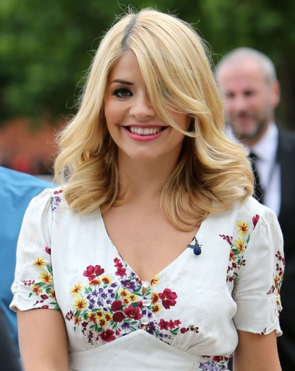 Holly Willoughby Filming On The Embankment London