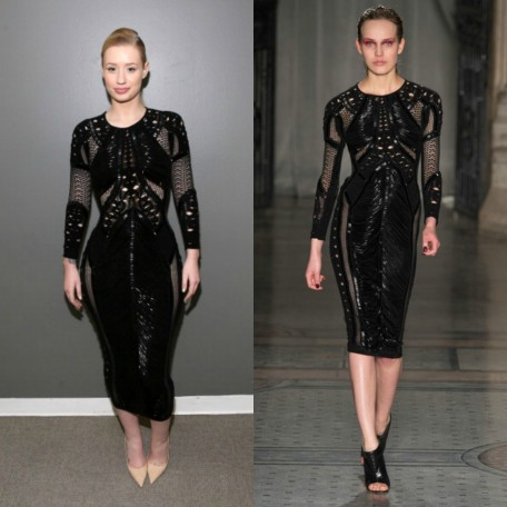 Iggy Azalea In Julien Macdonald Black Bugle Beaded Long Sleeved Dress On Park