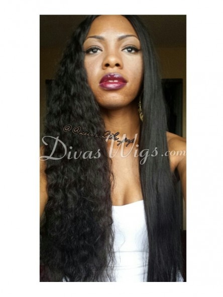 Jet Black Jessica White Curly Full Lace Wig Cec