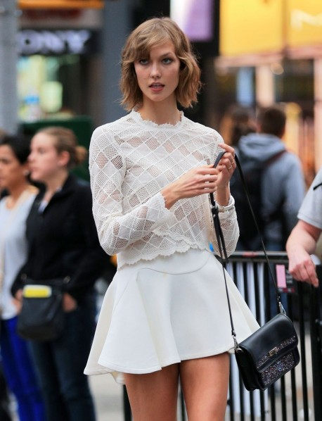 Karlie Kloss At Photoshoot At Times Square In New York