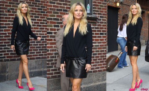 Kate Hudson Late Show David Letterman Giuseppe Zanotti Pink Fiamma Pumps Barbara Bui Leather Skirt Cartier Ring Fashion