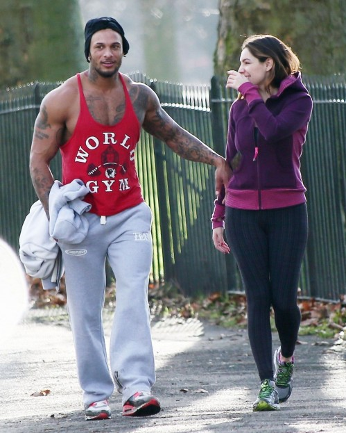Kelly Brook In Leggings Working Out With David Mcintosh In London And David Mcintosh