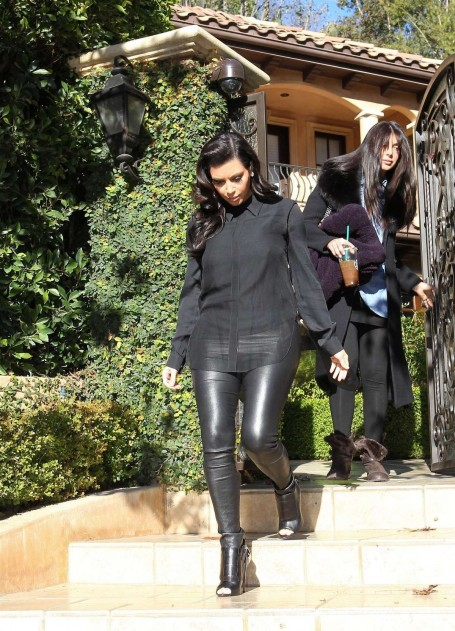 Kim Kardashian In Leather Pants Leaves Her House In Beverly Hills House