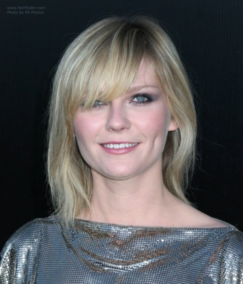 Kirsten Dunst Medium Hairstyles Kirsten Dunsts Shimmering Silver Dress And Shoulder Length Hairstyle