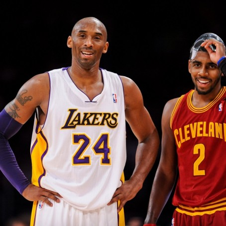 Hi Res Kobe Bryant Of The Los Angeles Lakers And Kyrie Irving Crop Exact