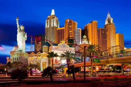 New York New York Hotel And Casino At Night In Las Vegas Usa Hotels