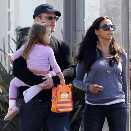 Matt Damon Carrying Daughter Stella Damon La Pictures