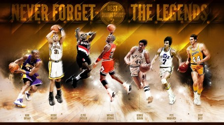 Never Forget Best Shoting Guards The Legends Kobe Bryant Reggie Miller Clyde Drexler Michael Jordan George Gervin Pete Mravich Jerry West Basketball Wallpapers Sports Nba Hd Wallpaper Basketball Sp Sp