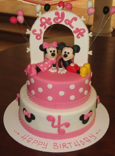 Birthday Cakes Appealing Pink And White Minnie Mouse Cake Decorating Idea With Minnie And Mickey Topper White Polka Dot Motive Colorful Ballons And Black Minnie Mouse Motive With Pink Bows Graceful Ca
