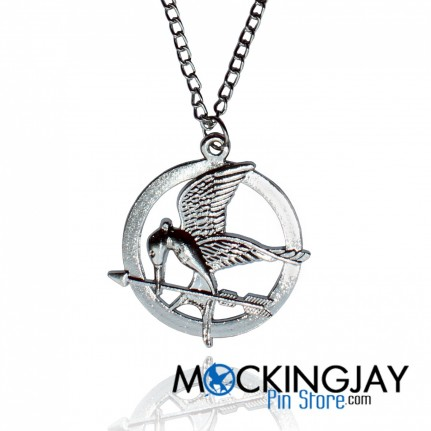 Silver Mockingjay Necklace Closer Mps Logo Hot