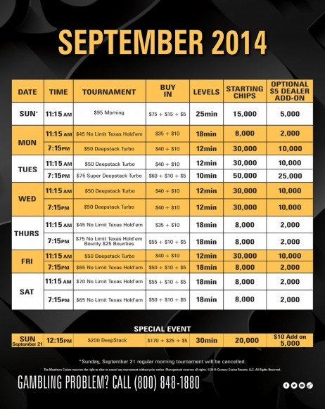 Poker Tournament Schedule Sept Rules