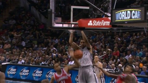 Jeff Ayres Dunks It Off The No Look Bounce Pass From Tim Duncan Dunk