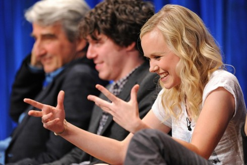 Sam Waterston John Gallagher Jr And Alison Pill In The Newsroom Large Picture