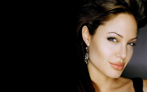 Stunning Cute Angelina Jolie In Black Dress Hd Wall Papers Wide Screen High Resolution Desktop Background Wallpaper Download Back Ground Images Pictures