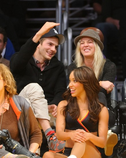 Kaley Cuoco And Ashton Kutcher At The Pacers Vs Lakers Game In Los Angeles