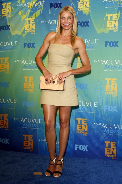 Cameron Diaz Green Beige Dress Body