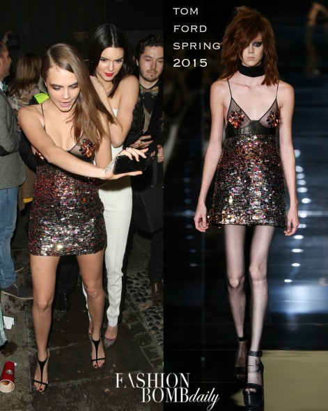 Cara Delevingnes British Fashion Awards After Party Tom Ford Spring Embellished Mini Dress
