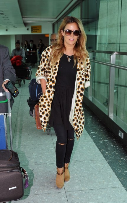 Caroline Flack Arriving At London Heathrow Airport From Los Angeles
