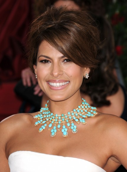 Eva Mendes Arrives At The Th Annual Golden Globe Awards Lo Hair