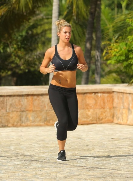 Gemma Atkinson In Spandex Out Jogging In Punta Cana Fitness