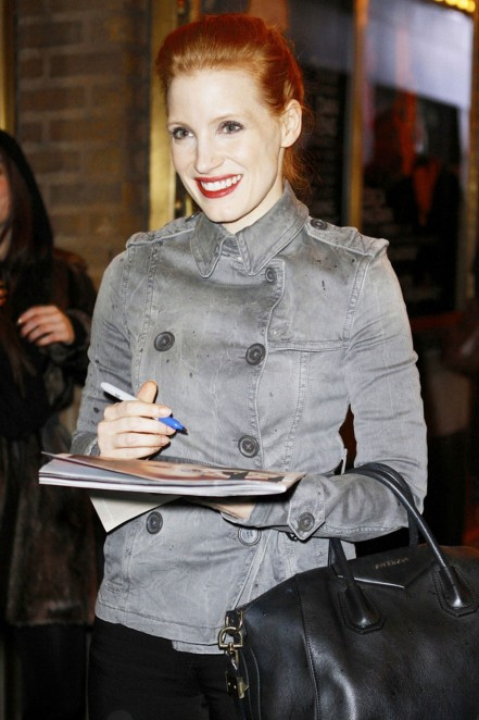 Jessica Chastain Leaves The Walter Kerr Theater In New York Beach