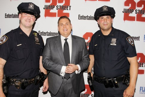 Jonah Hill And Police Men At Jump Street Premiere