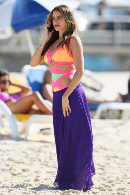 Sofia Vergara Filming Modern Family At Beach In Australia Beach