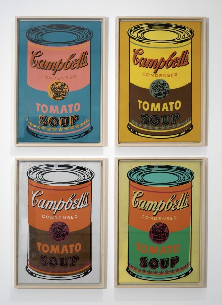 Warhol Four Colored Campbells Soup Can Can