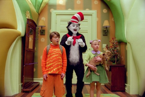 Still Of Mike Myers Spencer Breslin And Dakota Fanning In Dr Seuss The Cat In The Hat Large Picture Cat In The Hat