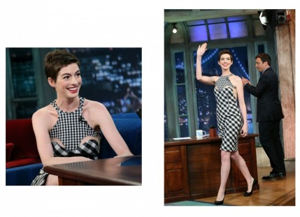 Anne Hathaway On Jimmy Fallon July Stella Mccartney Dress Dresses