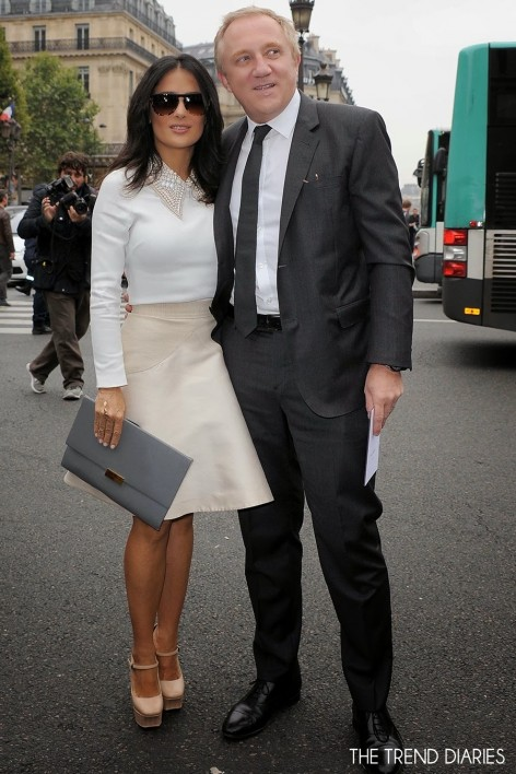 Salma Hayek Paris Fashion Week Stella Mccartney Beckett Grey Clutch Bottega Veneta Platform Sandals Pink Skirt White Collar Shirt