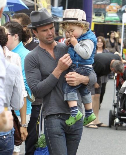 Justified Star Walton Goggins Carried His Son Augustus During Easter Stroll Through Farmers Market La