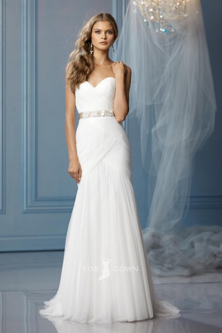 Simple Strapless Sweetheart Line Ruched Wedding Dress Beaded Sash Dresses