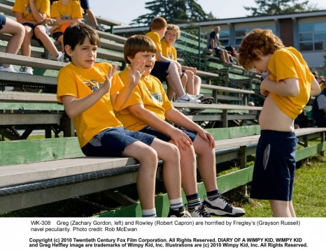 Greg Zachary Gordon Left And Rowley Robert Capron Are Horrified By Fregleys Grayson Russell Navel Peculiarity Photo Credit Rob Mcewan Diary Of Wimpy Kid